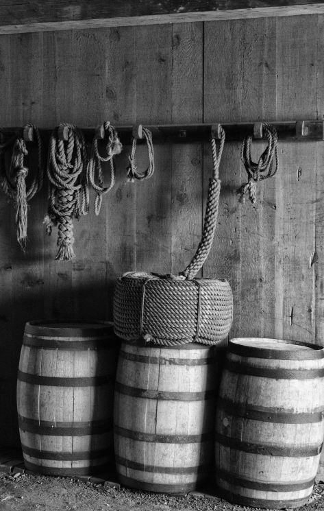 BW - Barrels and Rope At Louisbourg Fortress- ©Derek Chambers